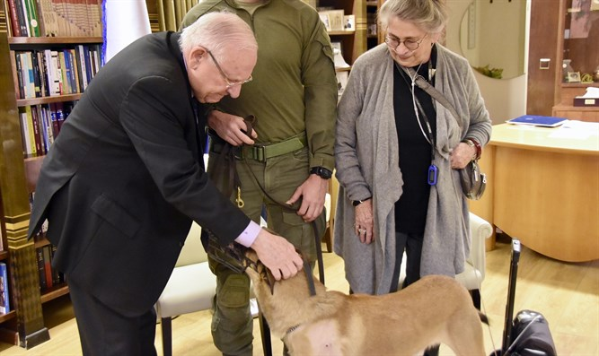 Rivlin and his wife with Rambo the dog
